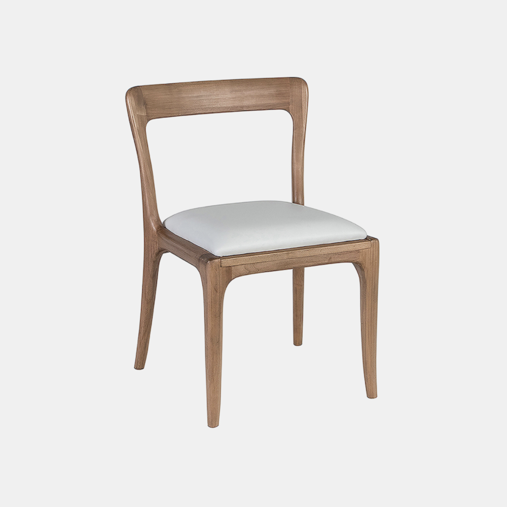 """James Chair  19""""w x 19""""d x 31""""h Available in several wood finishes and fabric, leather, muslin, or COM."""
