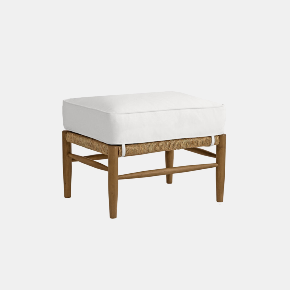 """Abigail Ottoman  26""""w x 19""""d x 17""""h Matching chair available. Available in several wood, fabric, and muslin finishes as well as COM."""