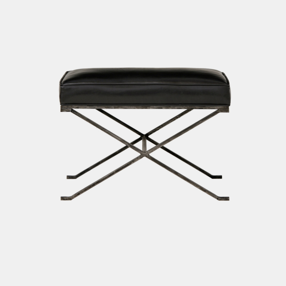 """Haven Bench  26""""w x 16""""d x 19""""h Available in several metal, fabric, muslin, and leather finishes as well as COM."""