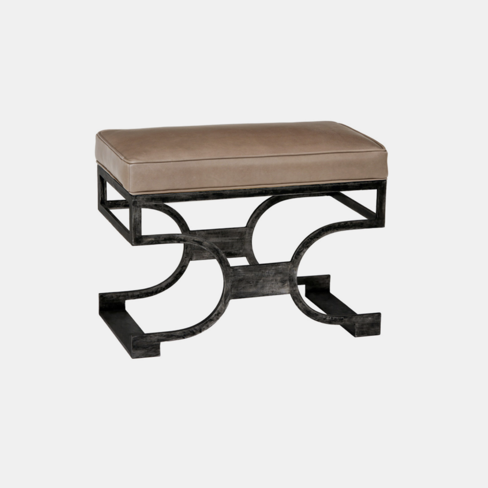 """Domingo Bench  27.5""""w x 15""""d x 21""""h Available in several metal, fabric, muslin, and leather finishes as well as COM."""