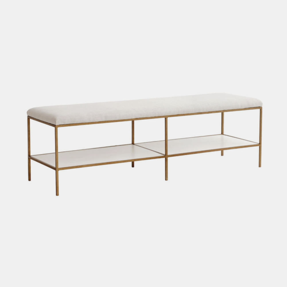 """Emerson Bench  60""""w x 18""""d x 18.5""""h Available in several metal, wood (shelves), fabric, muslin, and leather finishes as well as COM."""