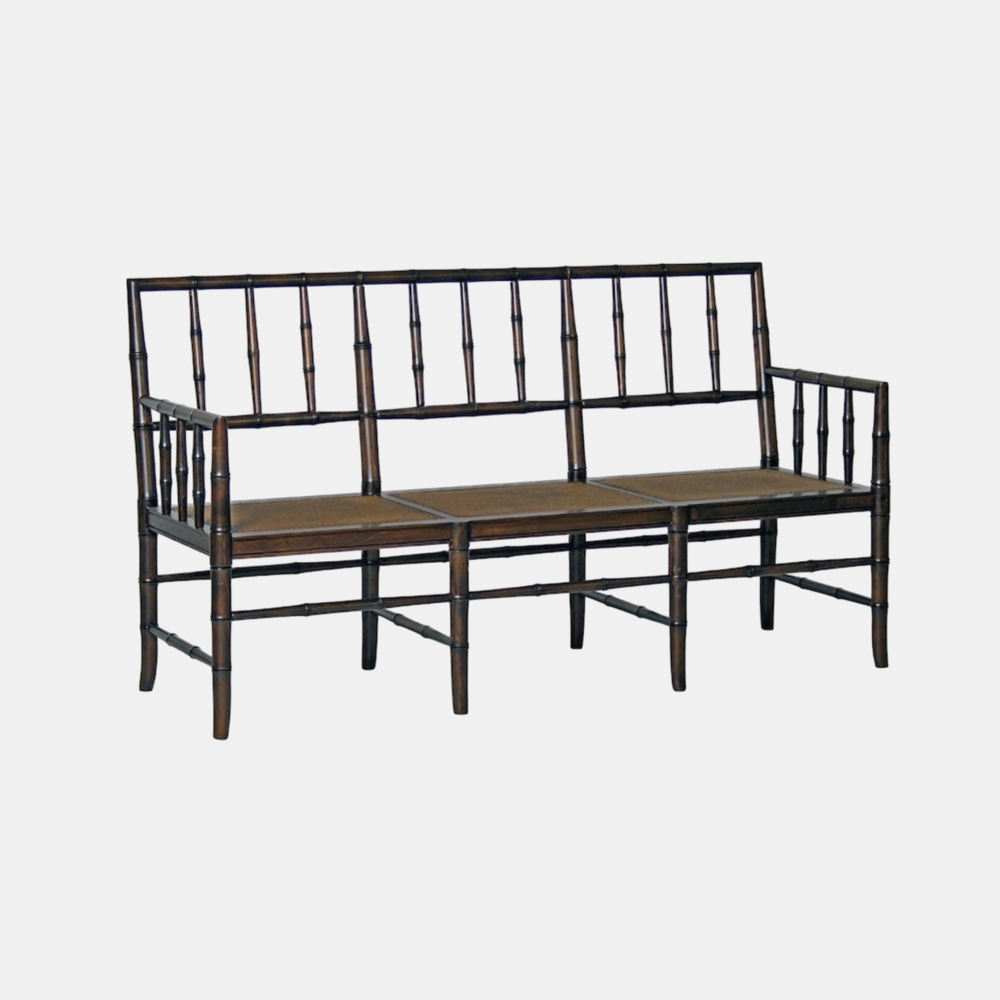 """Faux Bamboo Bench with Back  68""""w x 23""""d x 37""""h Available in several finishes."""