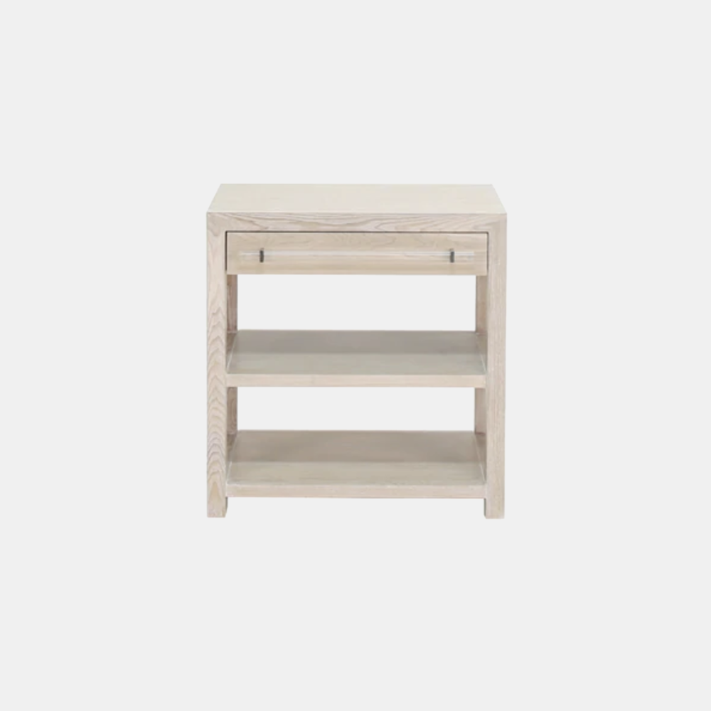 "Garbo Side Table  28""l x 18""d x 29""h Available in cerused oak (shown), gray cerused oak, and white lacquer."