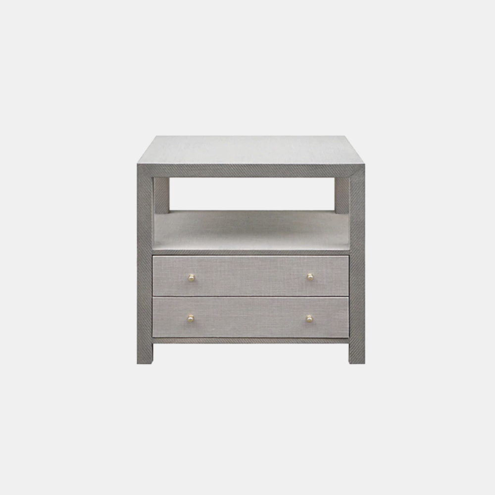 "Hattie Table  30""l x 18""d x 29""h Available in gray grasscloth with gray linen drawers (shown) and natural grasscloth with white lacquer drawers."