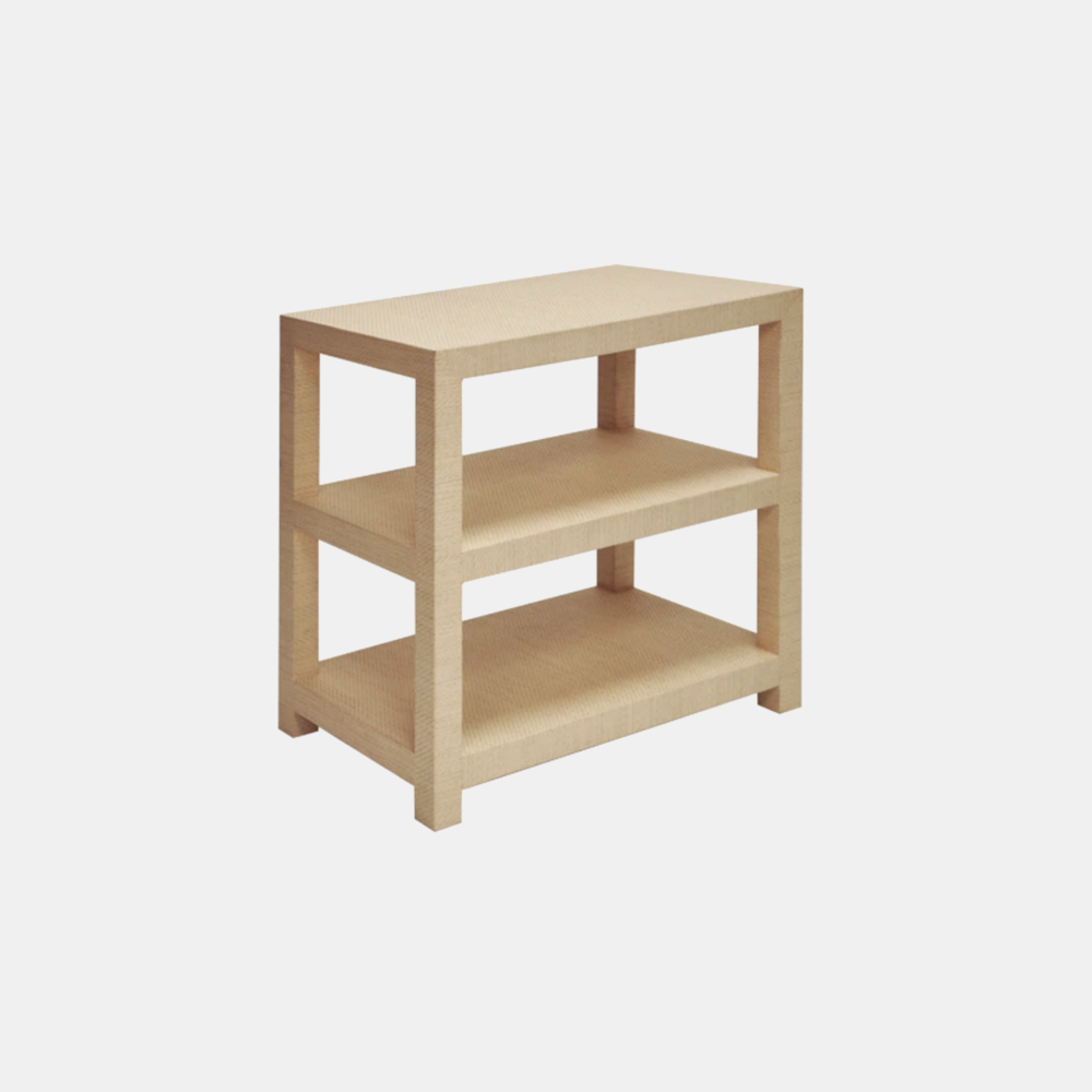 "Huxley Side Table  30""l x 18""d x 29.25"" h Available in natural grasscloth (shown) and gray grasscloth."