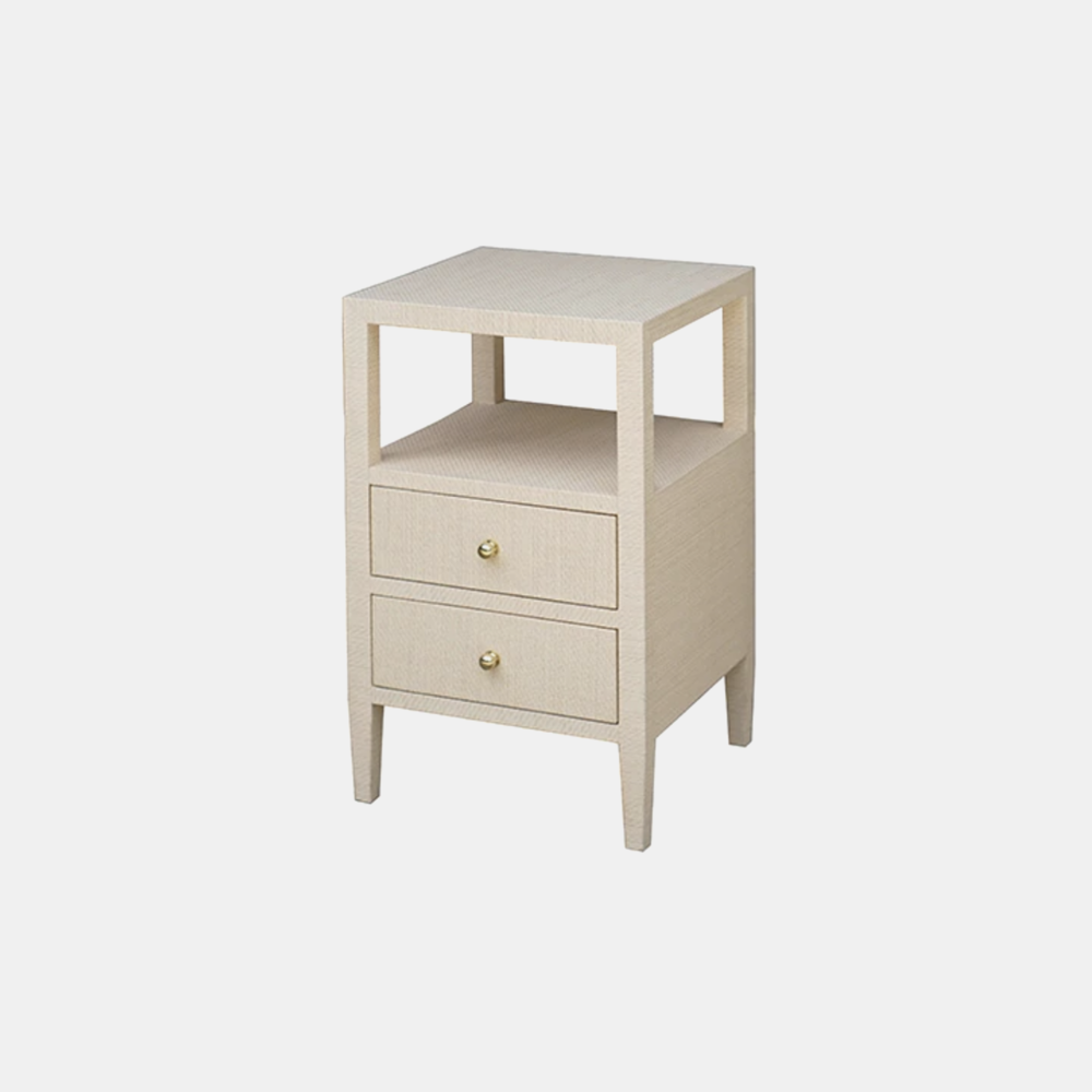 "Roscoe Side Table  18""sq x 29""h  Available in natural (shown), gray, and white."