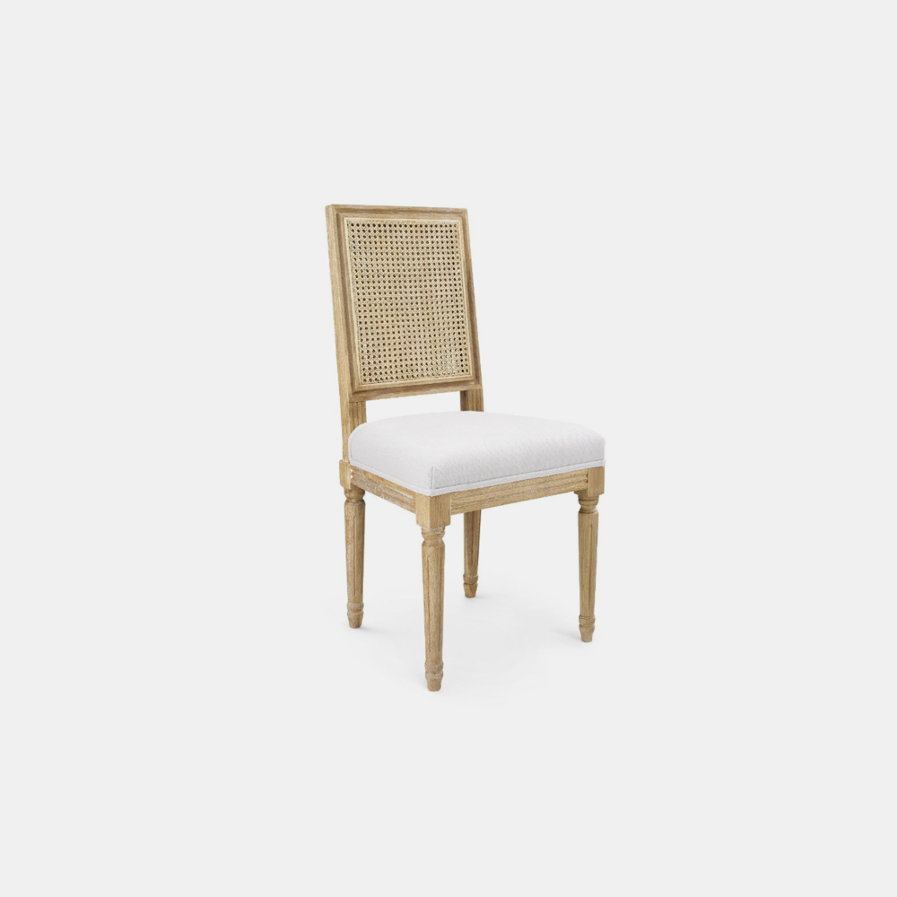 """Annette Side Chair  19""""w x 19""""d x 38.5""""h Available in natural (shown) and gray."""