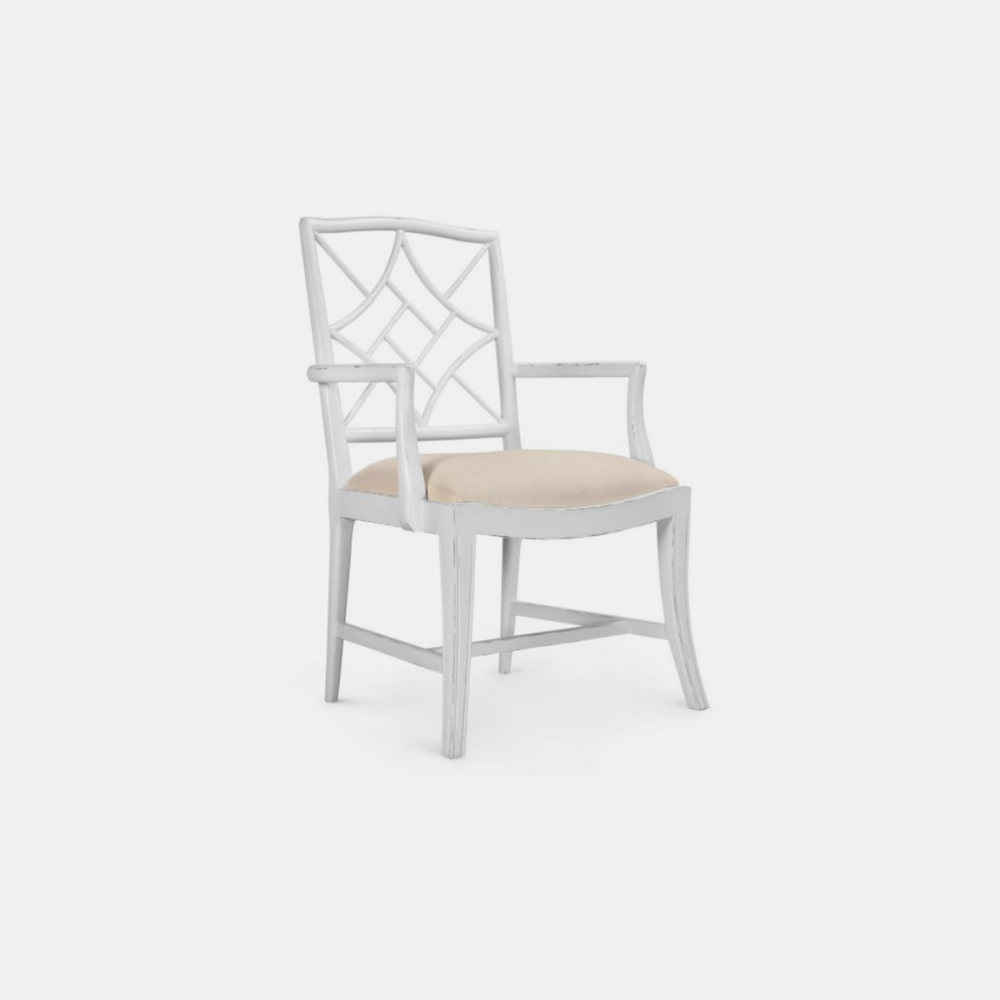 Evelyn Arm Chair  23.5w x 22.5d x 38h Available in white (shown) or black. Also available as side chair.