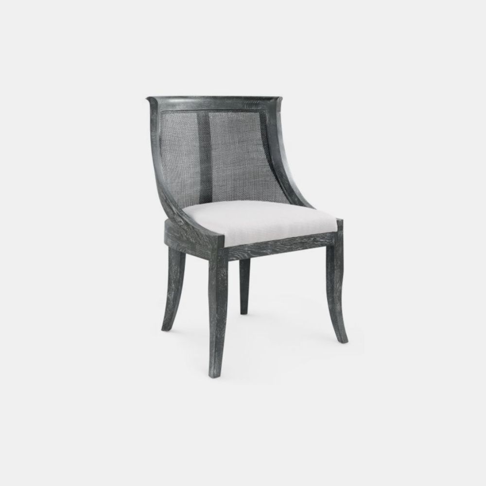 """Monaco Armchair  24""""w x 22.5""""d x 35.5""""h Available in gray (shown), white, and natural."""