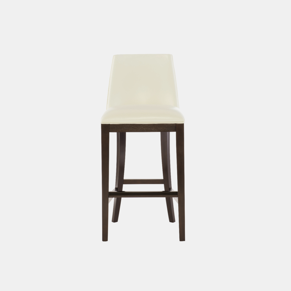 """Bailey Bar Stool  19""""w x 22.25""""d x 42.5""""h Available in fabric and leather. Wood finish available in cocoa (shown) or smoke. Also available as counter stool."""