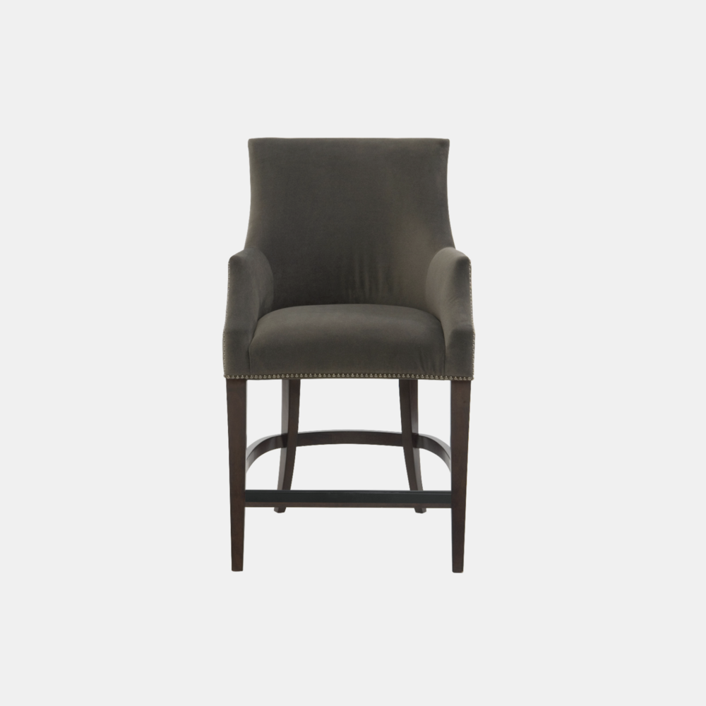 """Keeley Counter Stool  24""""w x 27.25""""d x 41.25""""h Available in fabric and leather. Wood finish available in cocoa (shown), smoke, or chalk. Also available as counter stool and dining chair."""
