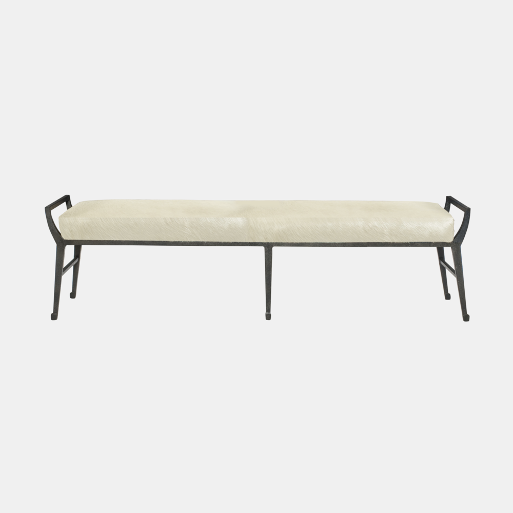 """Mansfield Bench  61.5""""w x 18""""d x 17.5""""h Available in fabric and leather."""