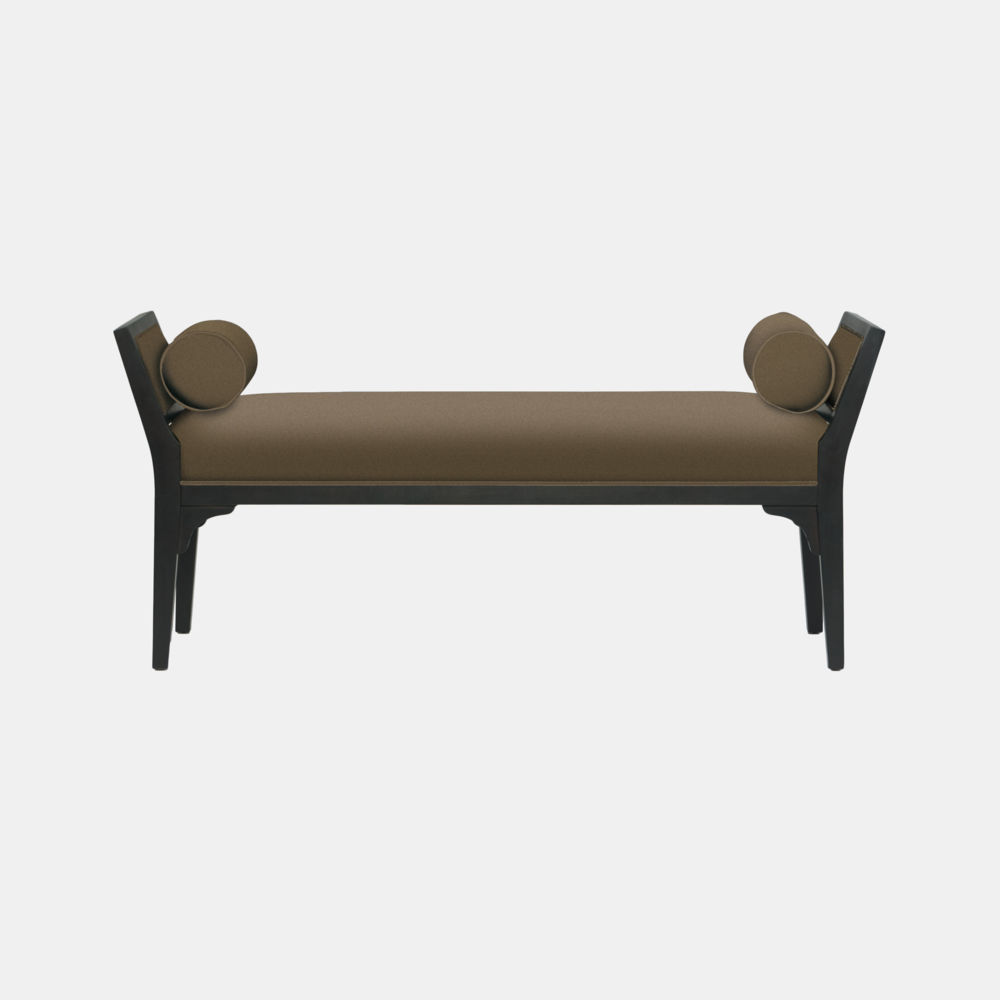 """Mansfield Bench  58""""w x 20.5""""d x 26""""h Available in fabric and leather. Available in several wood finishes."""