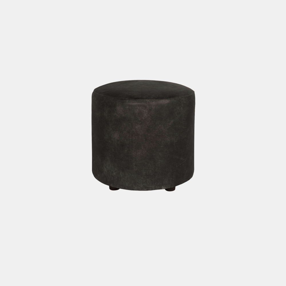 """Pisa Ottoman  18"""" round x 18'""""h Available in leather and fabric."""