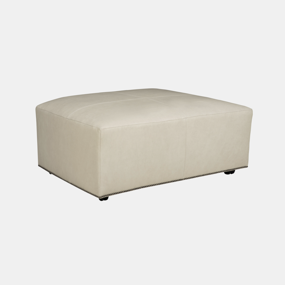 """Lolo Rectangular Ottoman  54""""w x 30""""d x 18""""h Available in leather and fabric. Available with or without nailheads."""