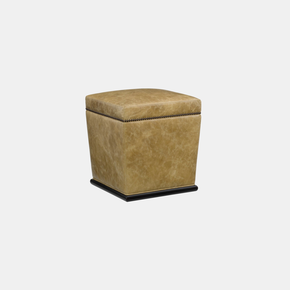 """Remy Ottoman  18"""" sq x 19.5'""""h Available in leather and fabric. Available in several wood finishes. Available with or without nailheads."""