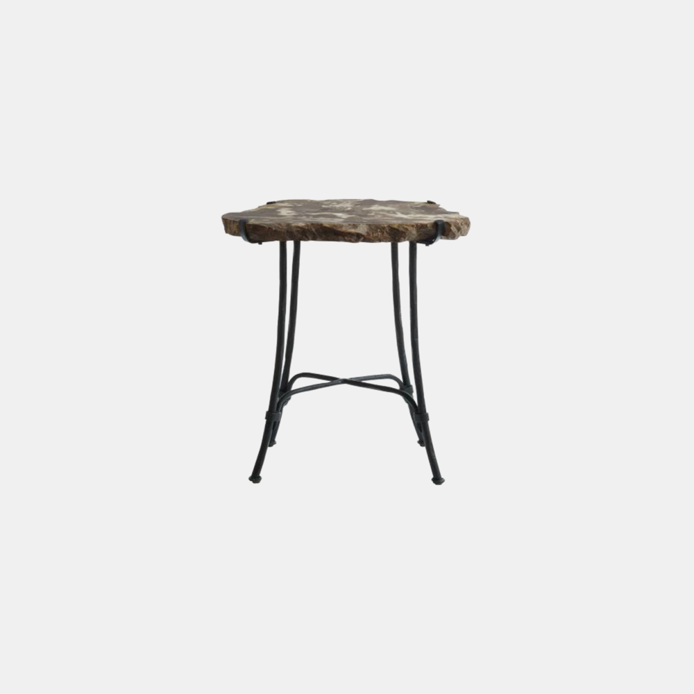 "Petrified Slab Side Table  16-22"" round x 23""h"