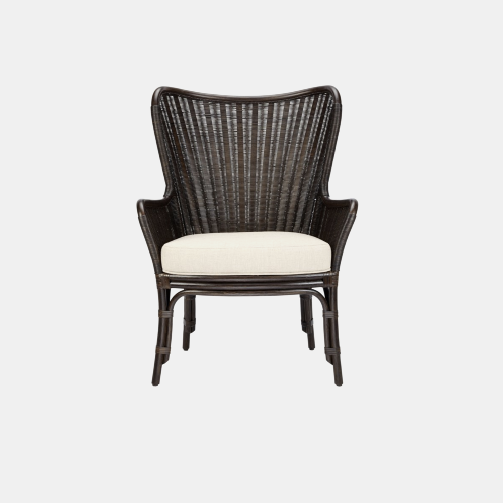 Sheridan Wing Chair  30'' x 27.5'' x 40'' Available in clove (shown), nutmeg, and white.