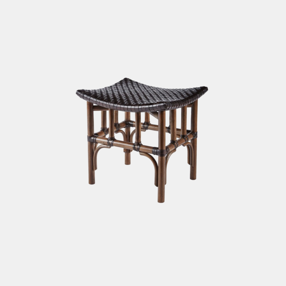 Leather Woven Stool  20.5'' x 17'' x 20'' Available in cinnamon (shown) and nutmeg.
