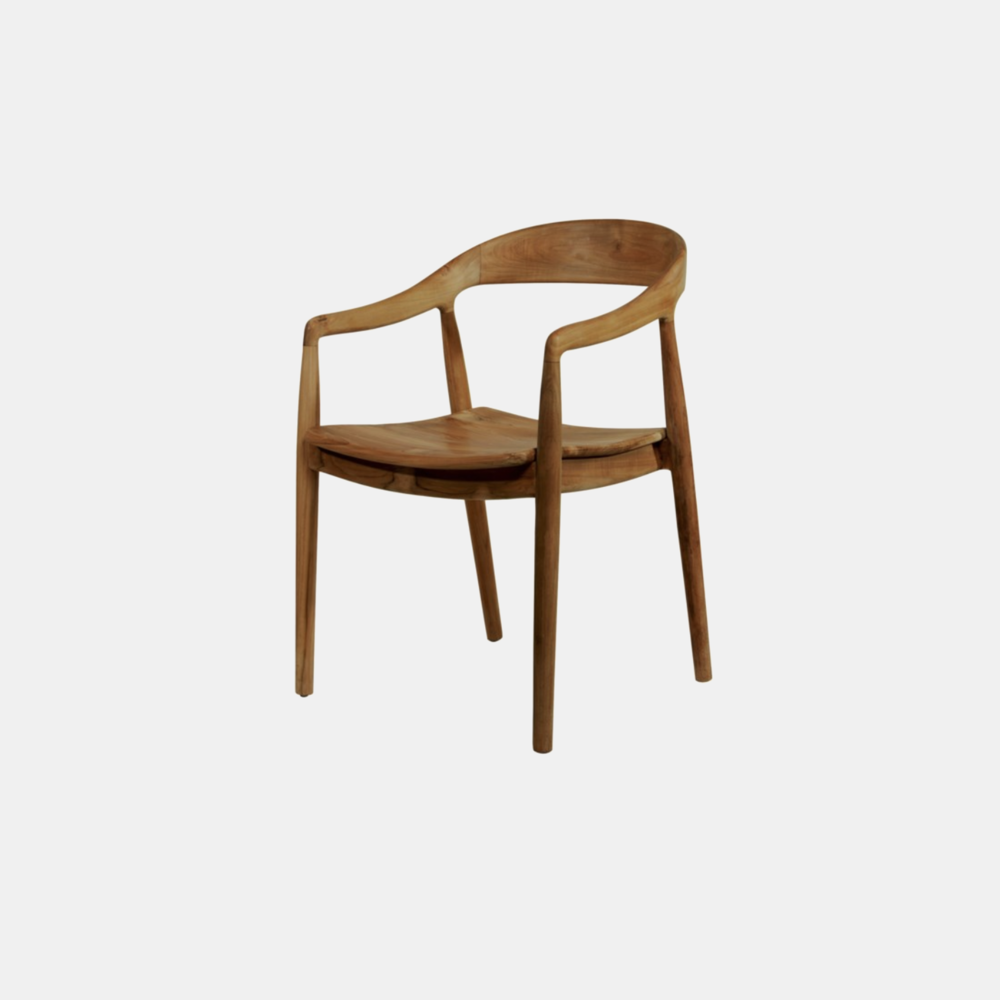 """Ingrid Arm Chair  21"""" x 22"""" x 31"""" Available in teak (shown) and gray. Also available as side chair."""