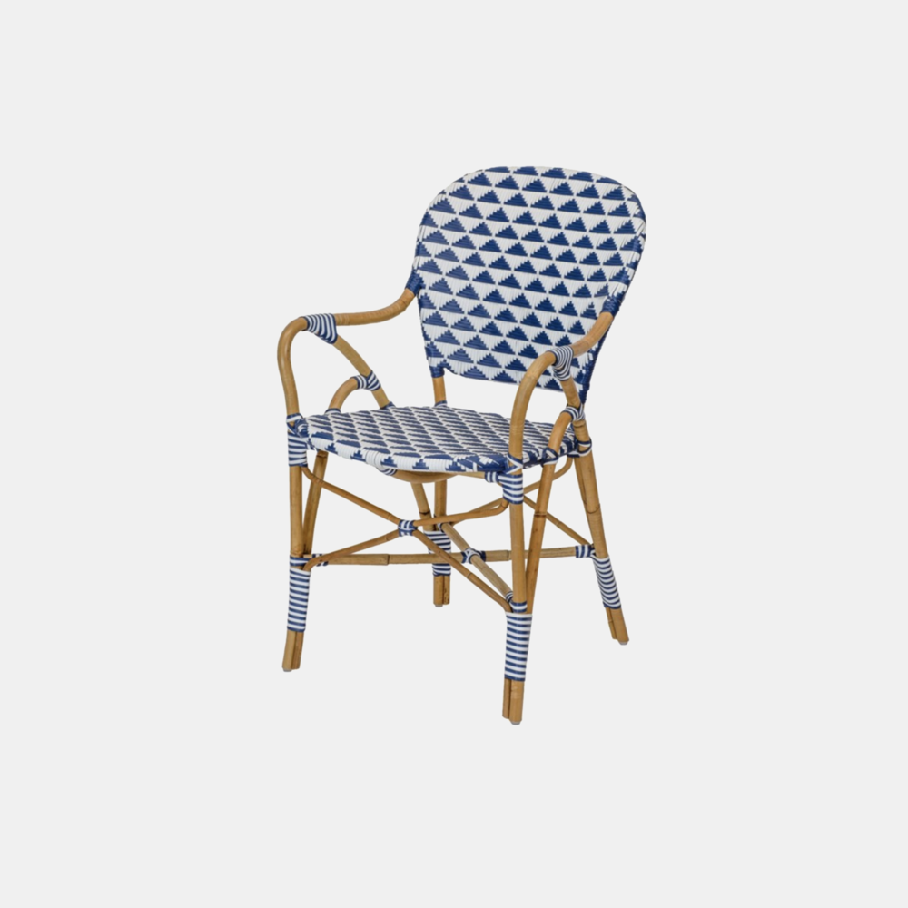 Pinnacles Arm Chair  20.25'' x 23.5'' x 34.5'' Available in blue/white (shown), natural/black, and white/blush. Also available as side chair.