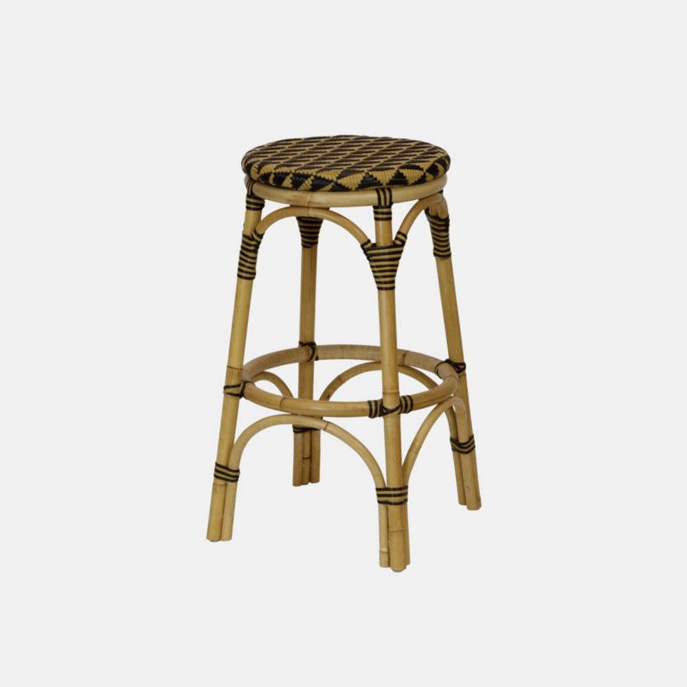 """Pinnacles Bar Stool  23.5"""" round x 30""""h Available in natural/black (shown), blue/white, and white/blush. Also available as dining arm chair, dining side chair, and counter stool."""