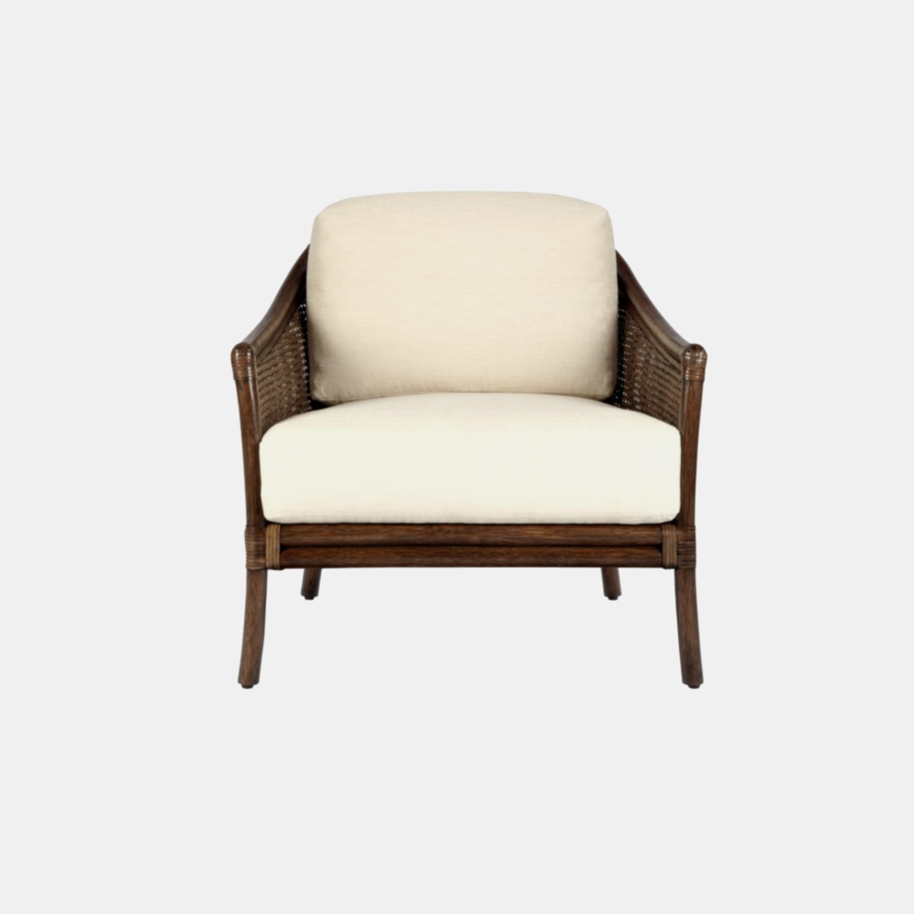 Tivoli Lounge Chair  30'' x 32.5'' x 33'' Available in cinnamon (shown) and nutmeg. Also available as dining arm chair.