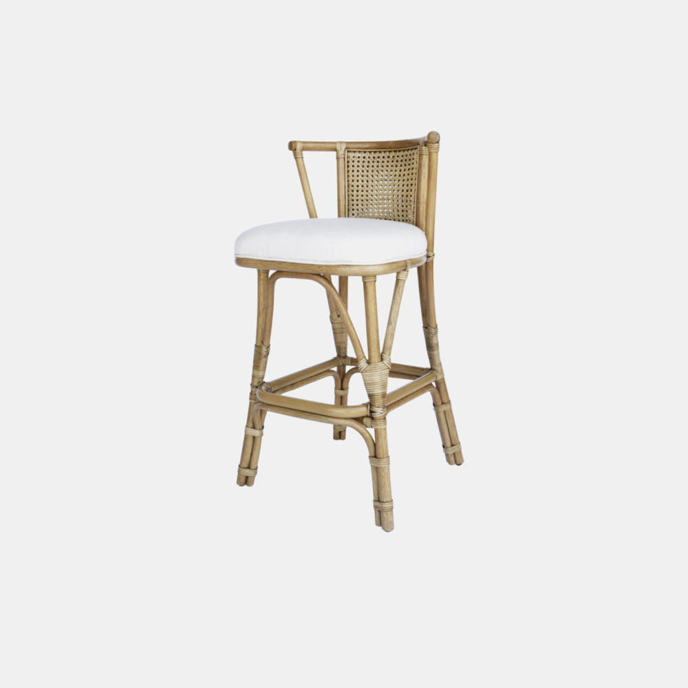 """Soren Bar Stool  22.5'' x 22'' x 39.5'', Seat Height: 29.5"""" Available in nutmeg (shown) and walnut. Also available as counter stool and lounge chair."""