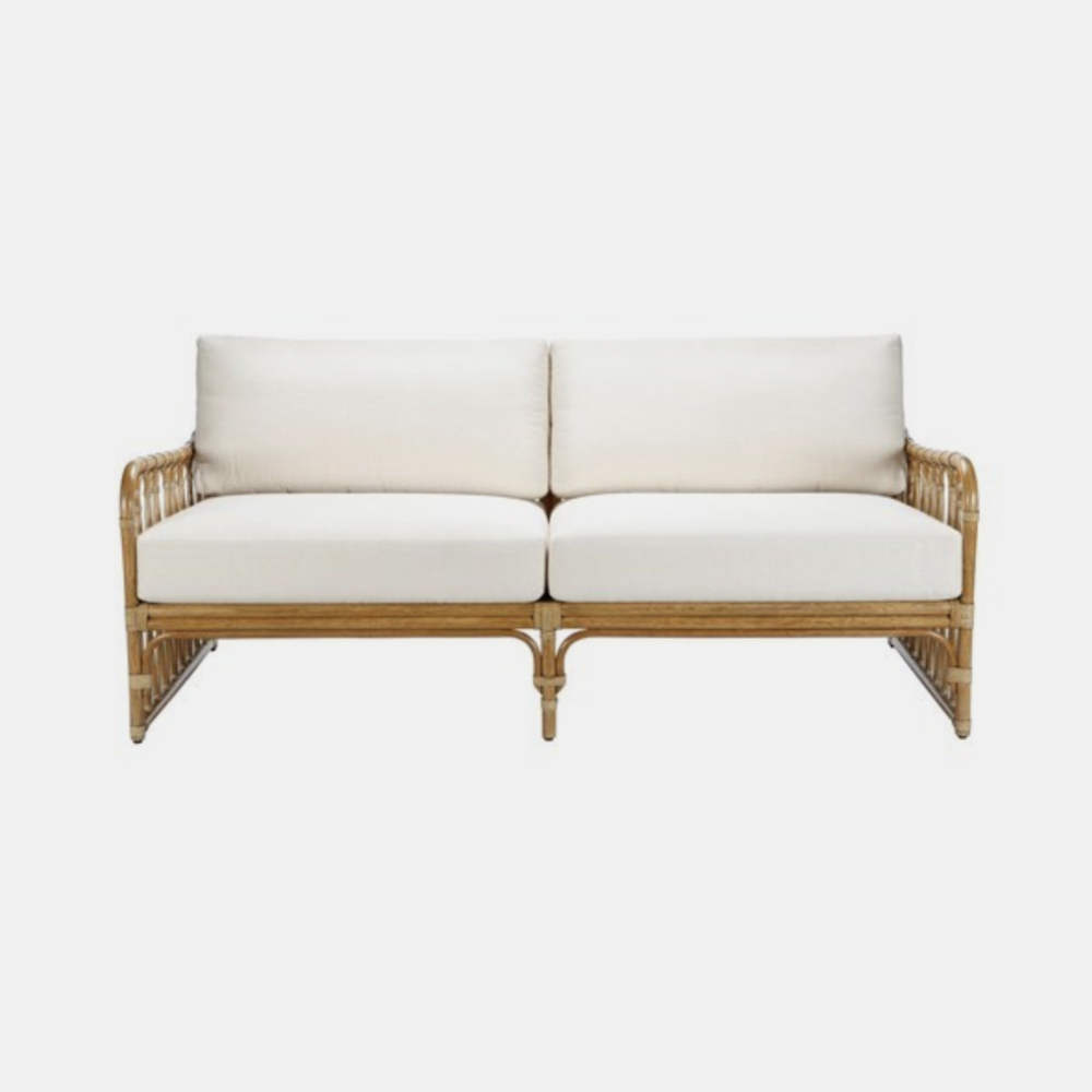 Sona Settee  72'' x 35.5'' x 31.5'' Available in nutmeg (shown), cinnamon, and clove. Also available as arm chair, side chair, lounge chair, bar stool, side table, dining table, and coffee table.
