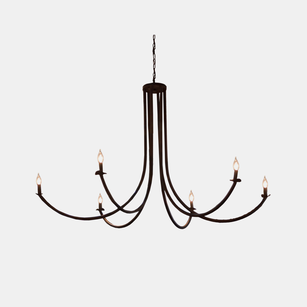 "Ramo Chandelier  54""w x 54""d x 32""h Available in rust or flat black."