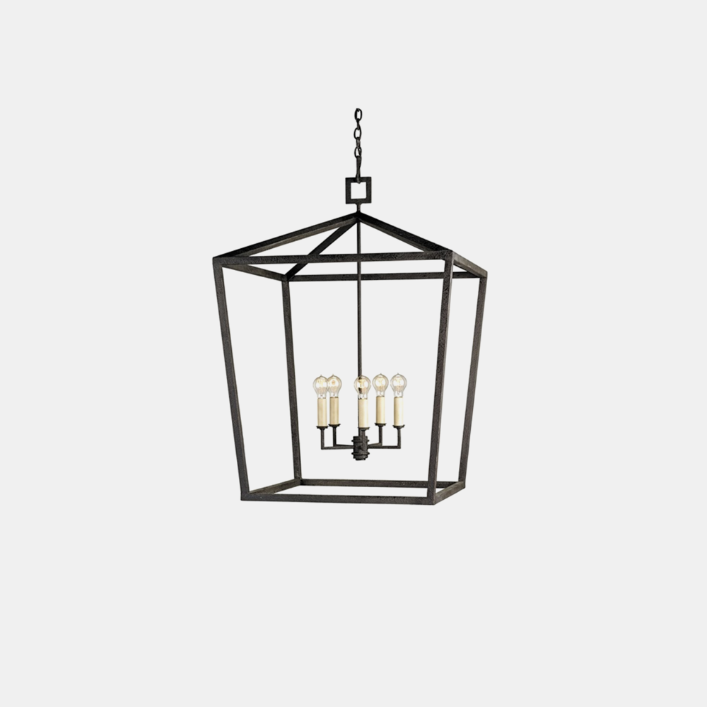 "Denison Lantern  Grande: 32"" square x 48""h Large: 26"" square x 41""h Rectangular: 40""w x 20""d x 34.75""h Available in silver, gold, and black (shown)."