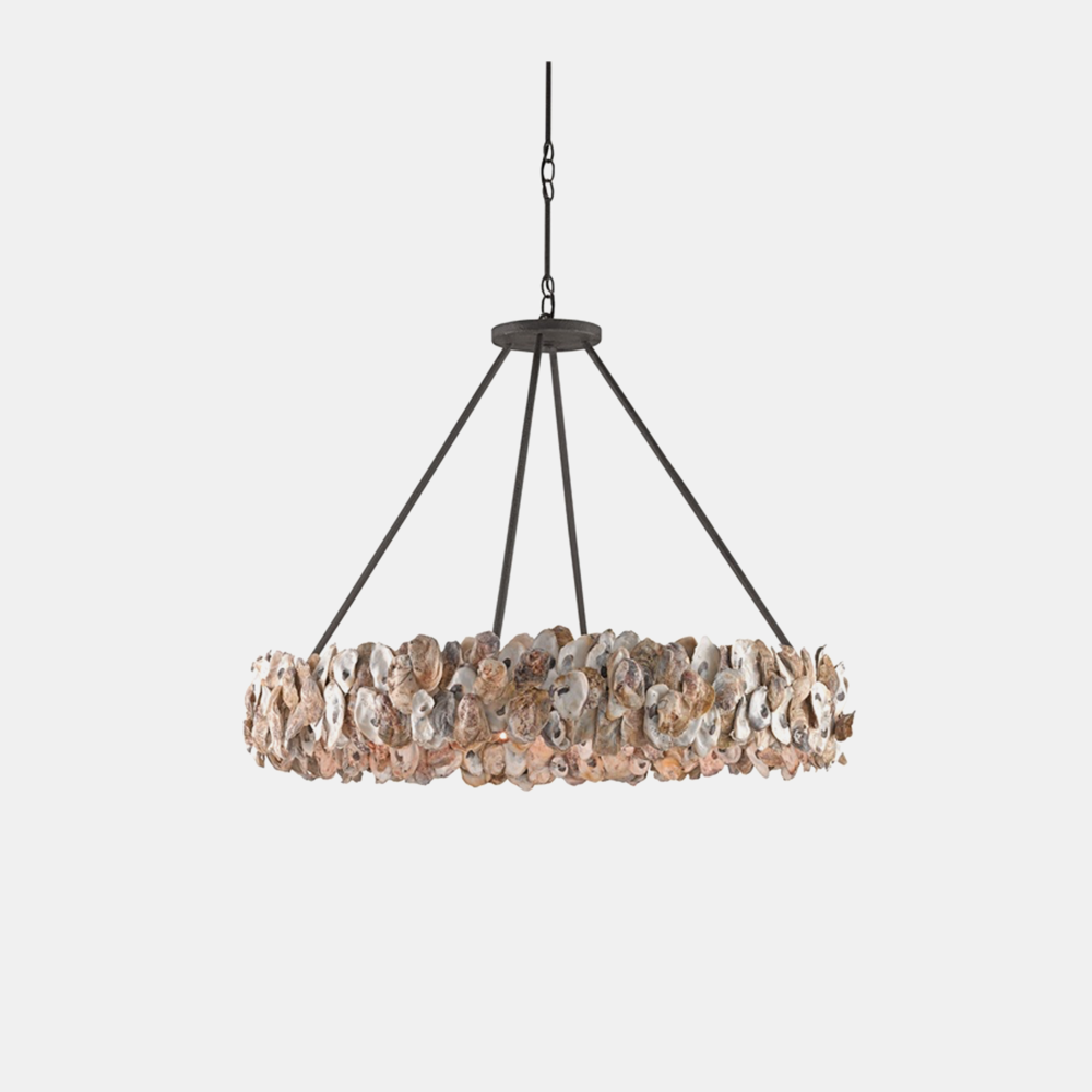"Oyster Circle Chandelier  38"" round x 28.25""h, adjustable from 28.25""–79.25""h"