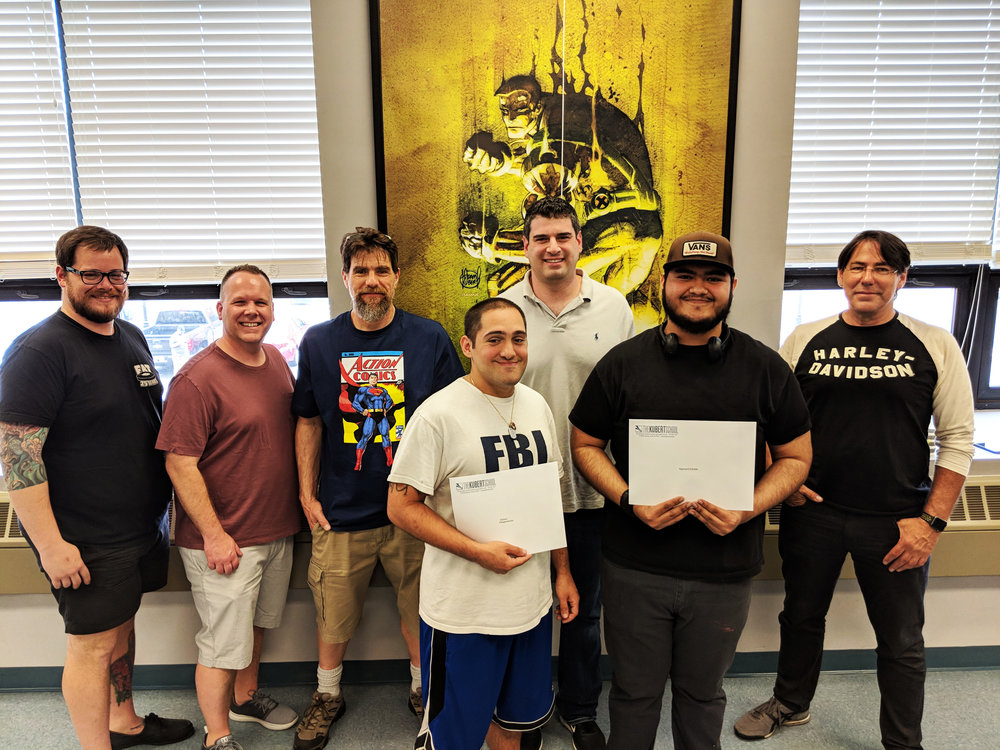 L-R: Joe Ott, Corry Brown, Andy Kubert, scholarship recipient Zack Kalogaropoulos, Ben Lichtenstein, scholarship recipient Raymond Estrada, & Adam Kubert at the 2018 Kubert School Scholarship Awards.