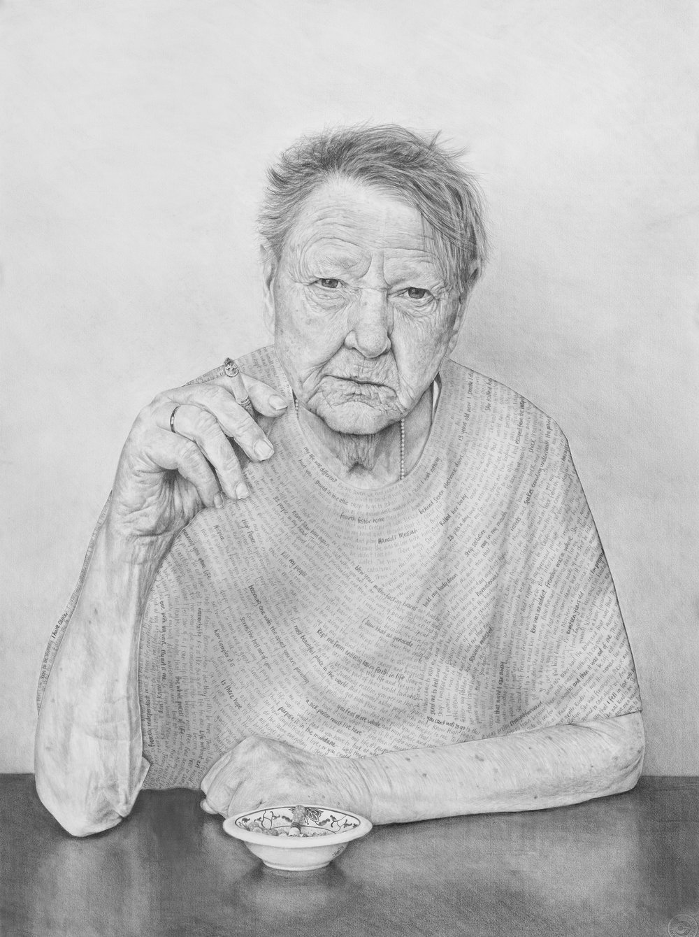 """Jenny - Pencil on drawing and tissue papers - 30"""" x 22"""" - 2014"""
