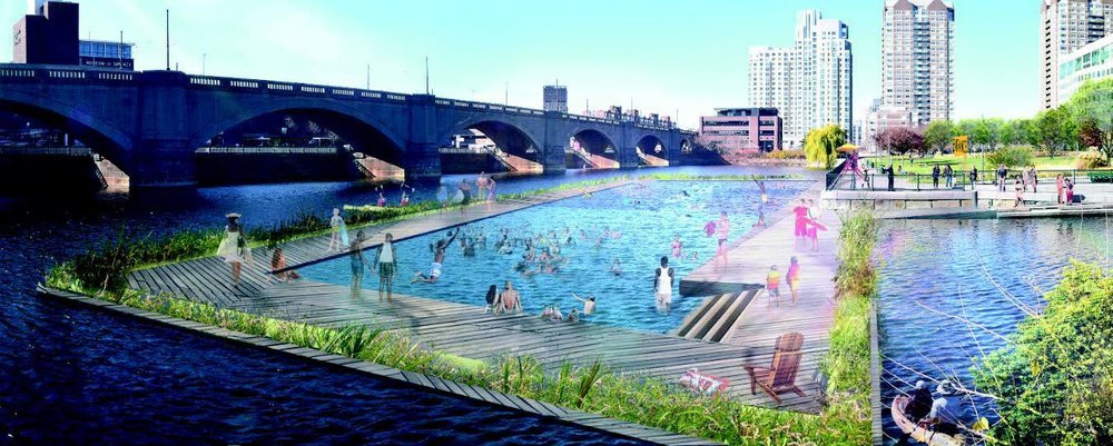 A proposed swimming facility in the Charles River in Boston, MA. Image: Charles River Conservancy.