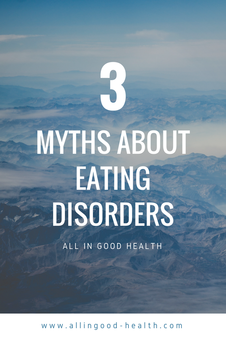 3 Myths about eating disorders. 1. You can tell someone has an eating disorder by looking at them. 2 The media causes eating disorders. 3 Diets are a normal part of life. Let's get real and debunk these myths. #NEDAwareness #healthateverysize #intuitiveeating