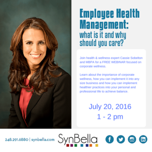 SynBella's CEO & Health/Wellness Expert, Cassie Sobelton discusses Employee Health Management and explains why you should care.