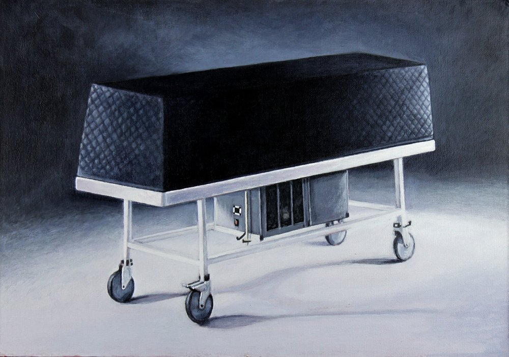 Trolley 1 , 2018, acrylic on canvas on board, 29.5 x 41.5 cm