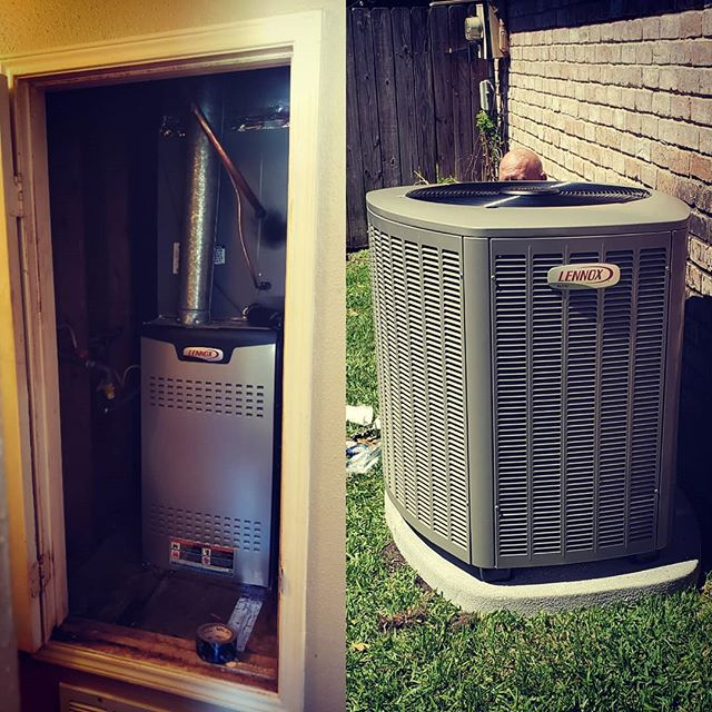 Our install crew working hard to keep the cool air blowing!! @lennoxair #hvac #hvaclife #xc20 #lennoxlife