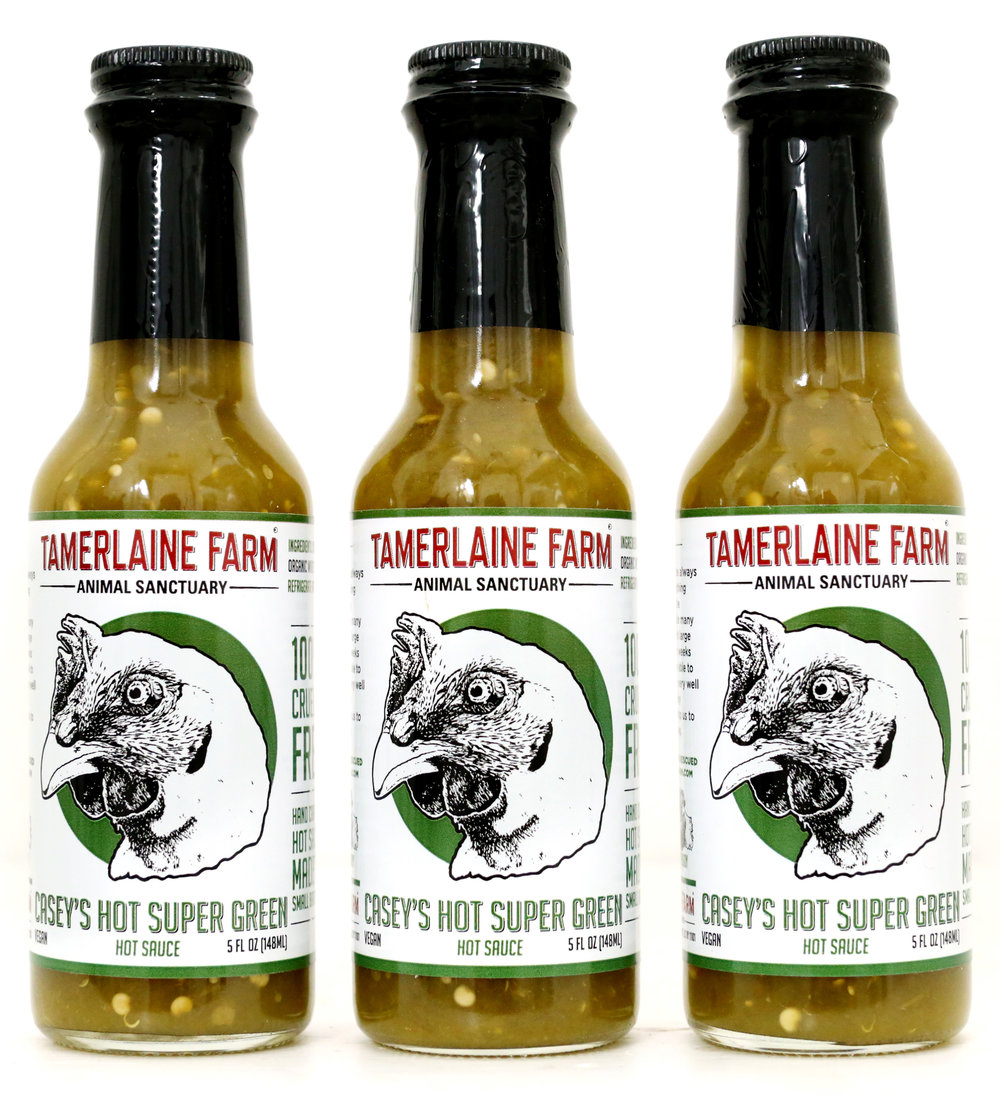 Casey's Hot Super Green - Jalapeno and Tomatillo with a hint of garlic and lemon give this hot sauce just the right zing to go perfectly with any meal.