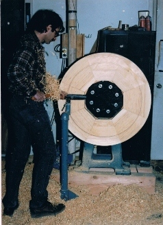 Peter Using His Huge, Custom-Built Lathe
