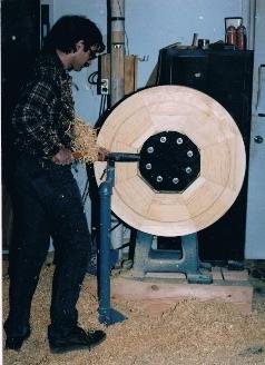 Peter Using His Huge, Custom-Built Lathe