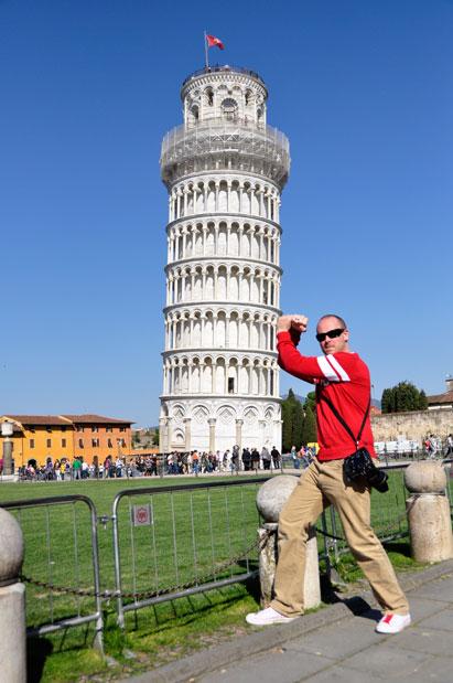 Josh supporting Pisa tower