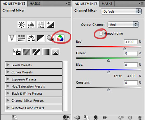 PHOTO 101: Photoshop Channel Mixer Adjustment Panel