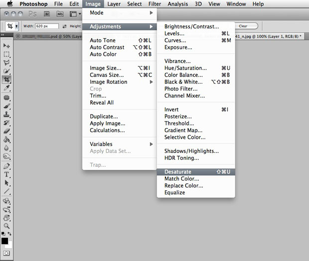 PHOTO 101: Photoshop desaturate menu