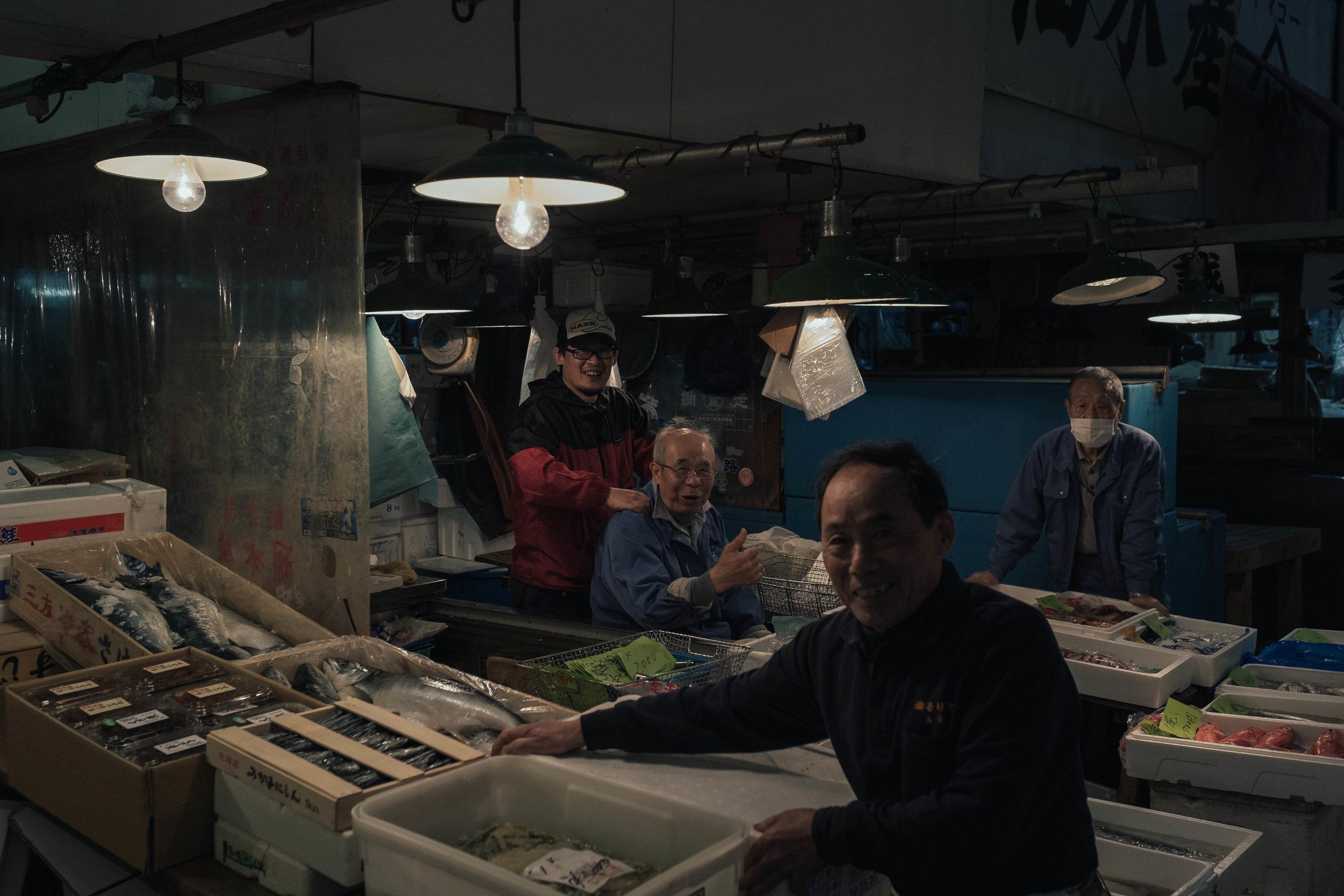 A well deserved massage at Tsukiji Fish Market, Tokyo.