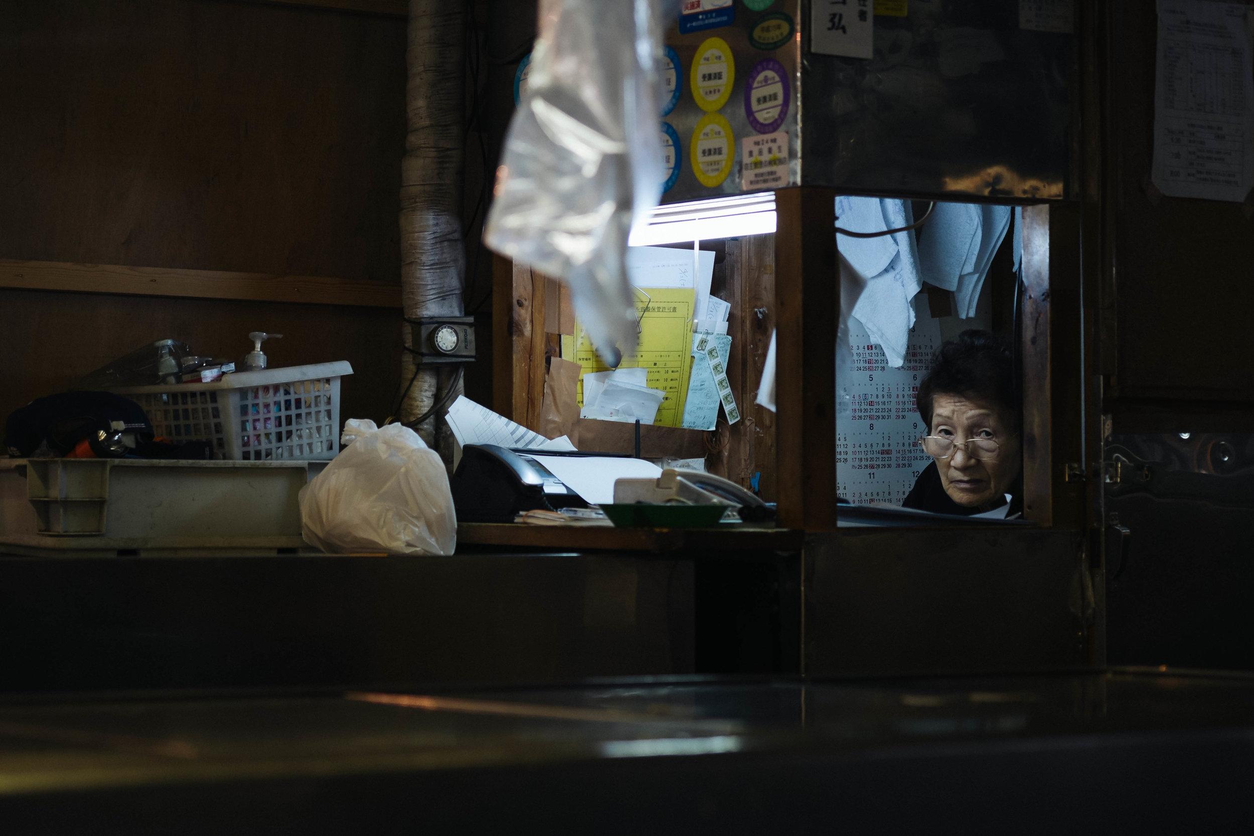 I think she spotted me, Tsukiji Fish Market, Tokyo.