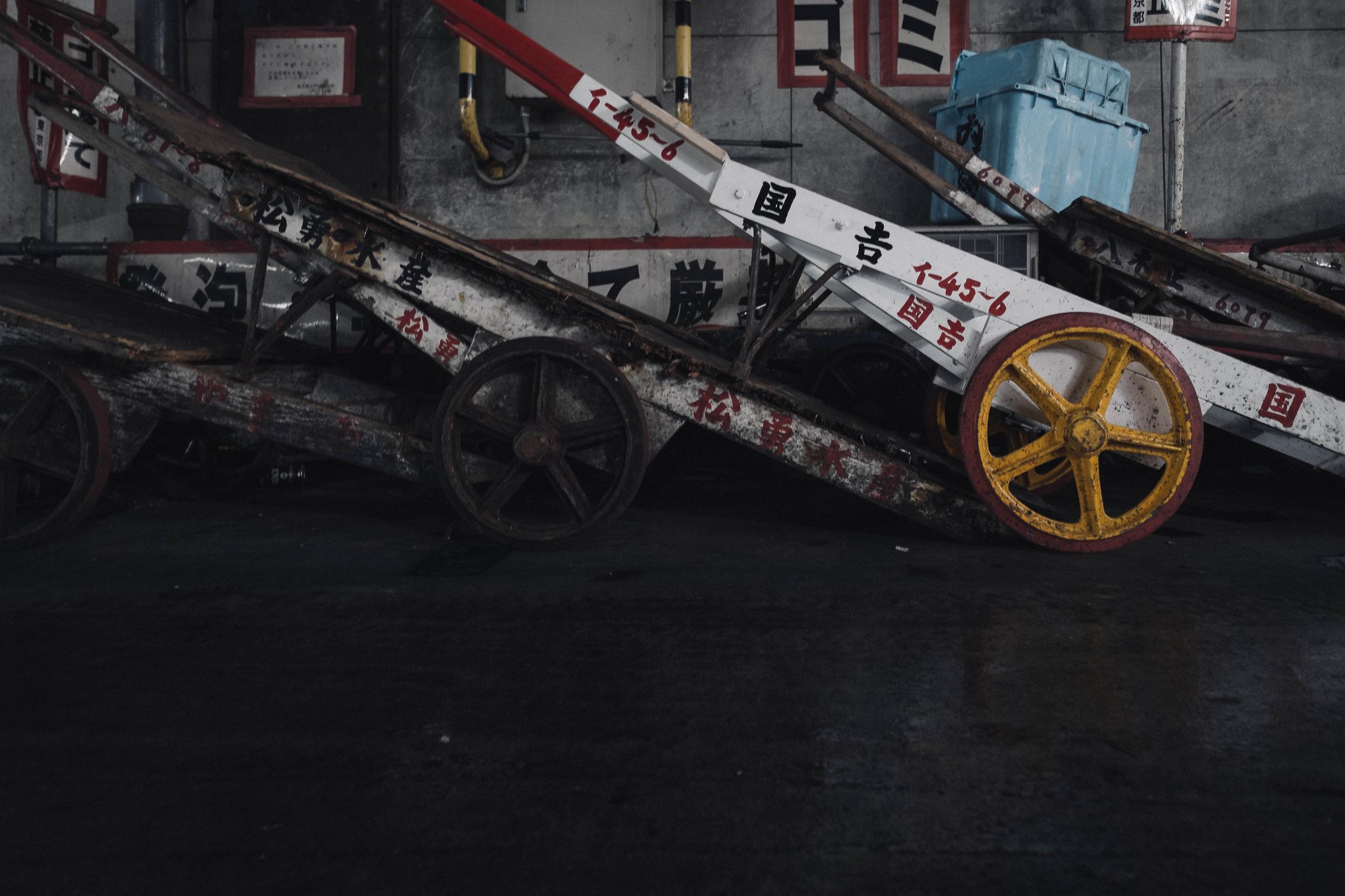 Carts waiting, Tsukiji Fish  Market, Tokyo.