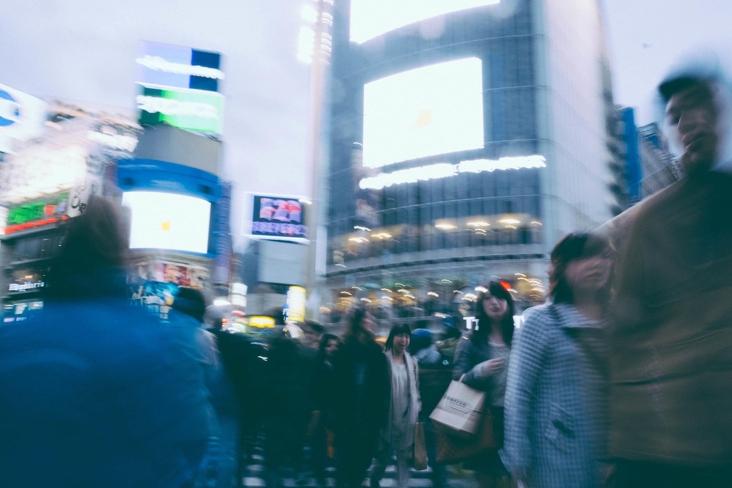 Organized chaos at Shibuya crosswalk, Tokyo.