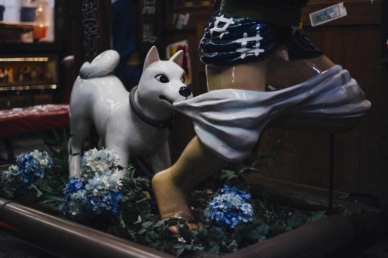 Strange cartoon style sculpture in Kyoto.